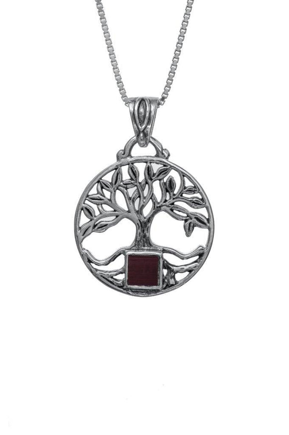 Nano Sim OB Silver Pendant Tree of Life with Round Frame - The Peace Of God