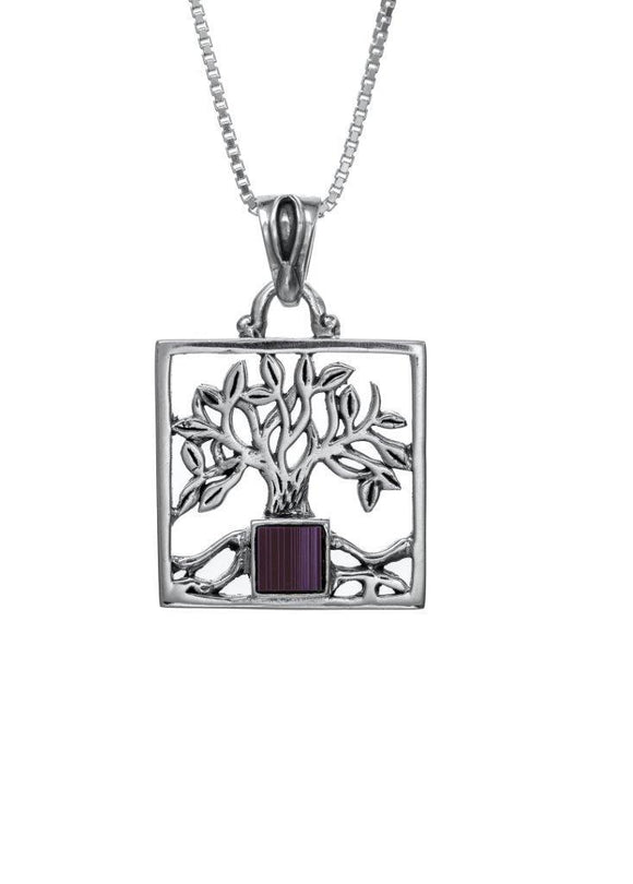 Nano Sim OB Silver Pendant Tree of Life with Square Frame - The Peace Of God