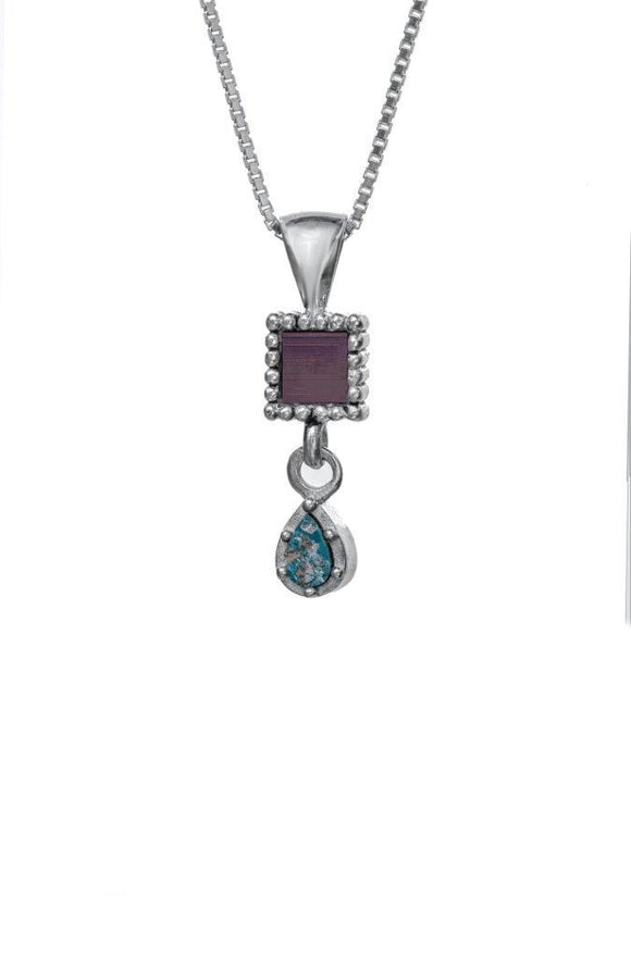 Nano Sim OB Silver Pendant - Drop Studded with Roman Glass - The Peace Of God