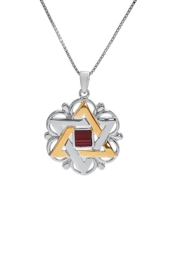 The Peace Of God -Nano Sim OB Silver and 9K Gold Pendant - Star of David with Floral Shape - The Peace Of God
