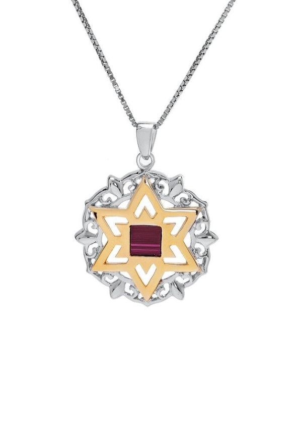 The Peace Of God -Nano Sim OB Silver and 9K Gold Pendant - Star of David with Floral Decorating - The Peace Of God