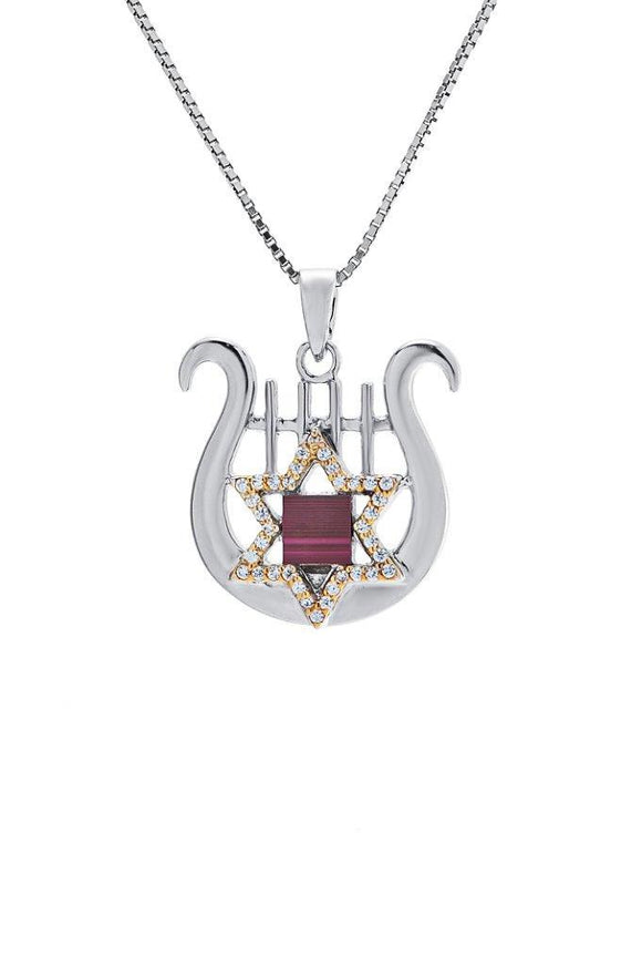 Nano Sim OB Silver and 9K Gold Pendant - David's Harp and Star of David Studded with Zircons - The Peace Of God