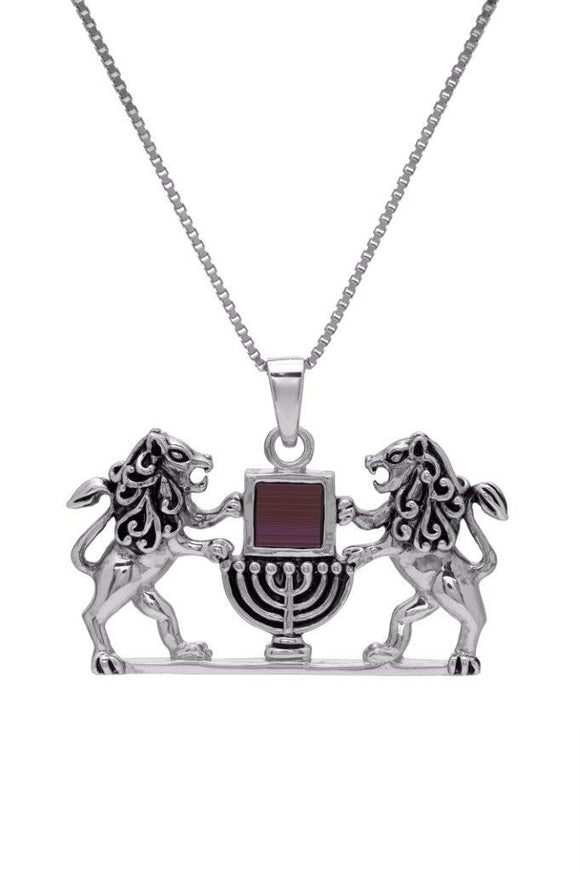 Nano Sim OB Silver Pendant - Lion of Judah with Lamp - The Peace Of God