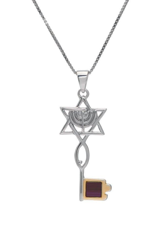 Nano Sim NT Silver and 9K Gold Pendant - The Messianic Symbol with Menorah in Key Desigh - The Peace Of God