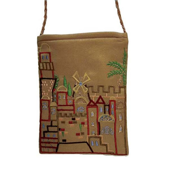Embroidered Passport Bag - Jerusalem - Gold