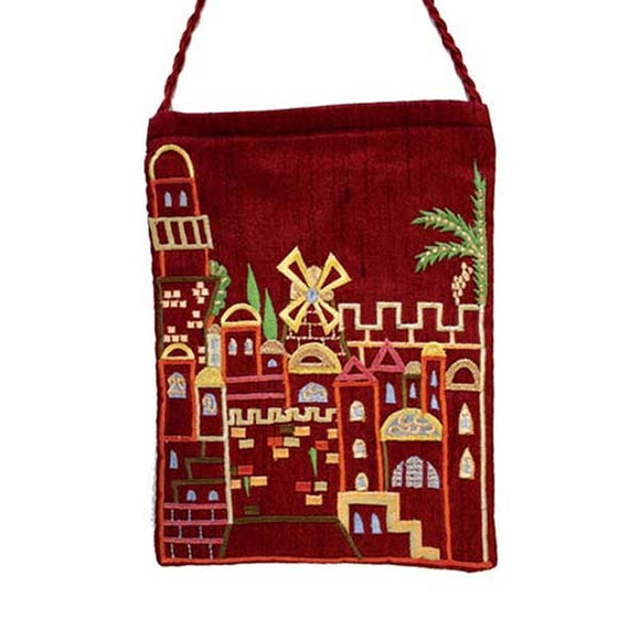 Embroidered Passport Bag - Jerusalem - Maroon