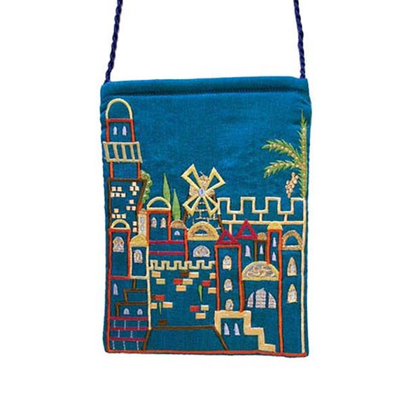 Embroidered Passport Bag - Jerusalem - Blue