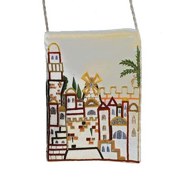 Embroidered Passport Bag - Jerusalem - White