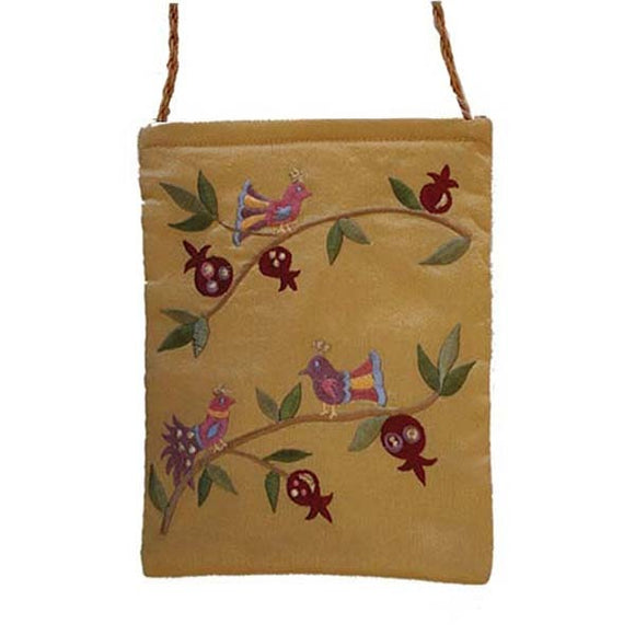 Embroidered Passport Bag - Birds - Gold