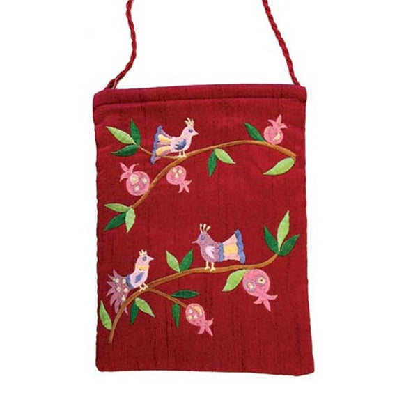 Embroidered Passport Bag - Birds - Maroon