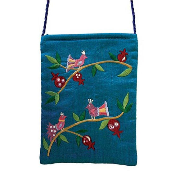 Embroidered Passport Bag - Birds - Blue