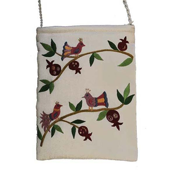 Embroidered Passport Bag - Birds - White
