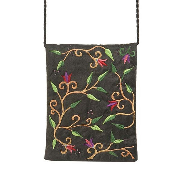 Embroidered Passport Bag - Flowers - Black