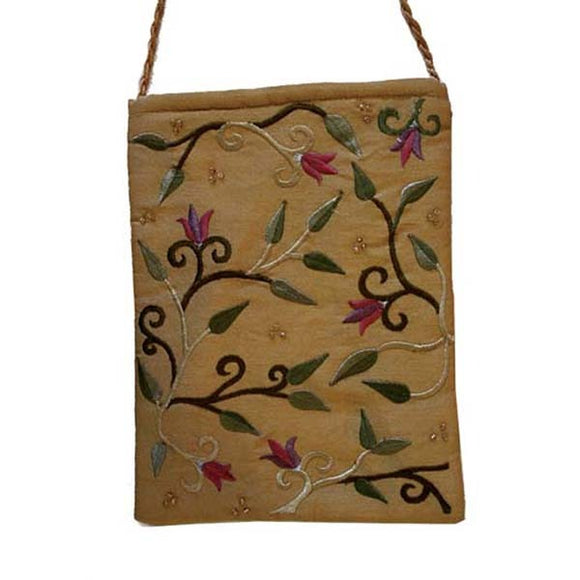 Embroidered Passport Bag - Flowers - Gold