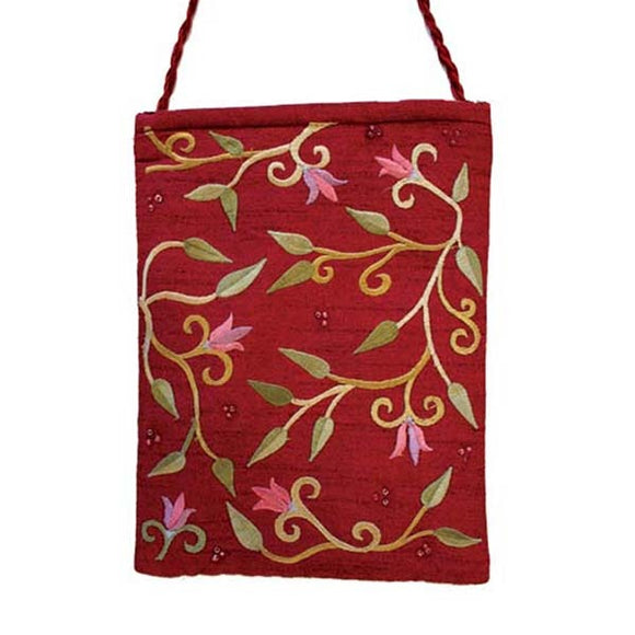 Embroidered Passport Bag - Flowers - Maroon