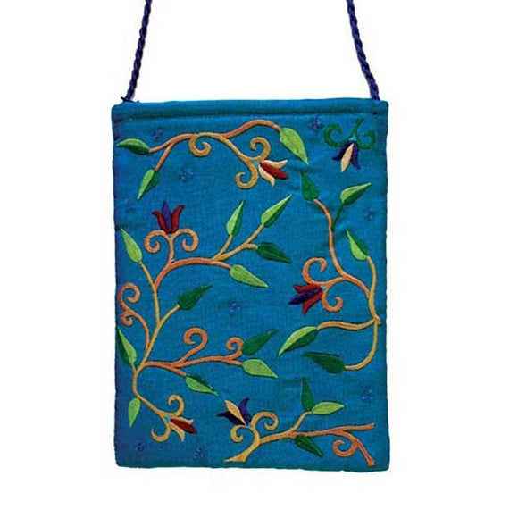 Embroidered Passport Bag - Flowers - Blue