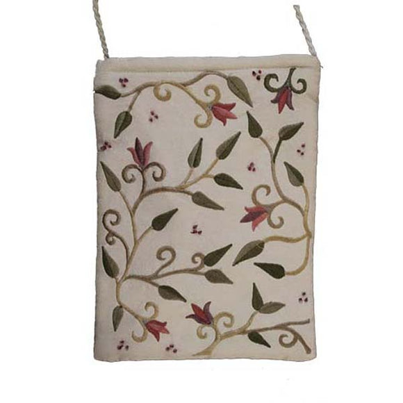 Embroidered Passport Bag - Flowers - White