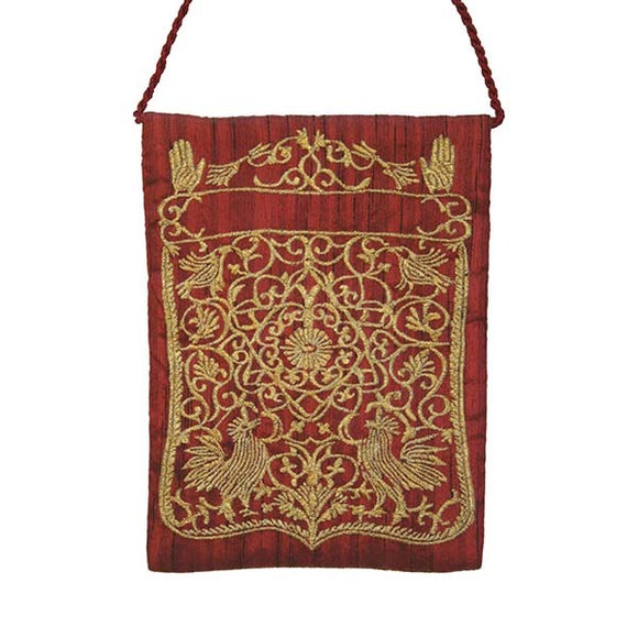Embroidered Passport Bag - Magen David - Red