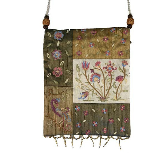 Bag - 5 Patches & Embroidery - Flowers - Gold