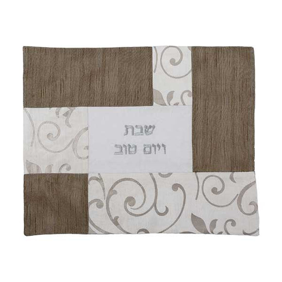 Challah Cover - Fabric Collage - Silver