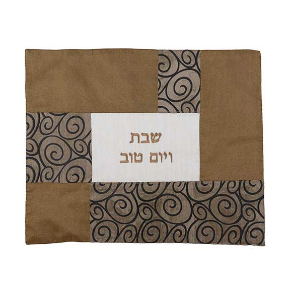 Challah Cover - Fabric Collage - Curls Copper