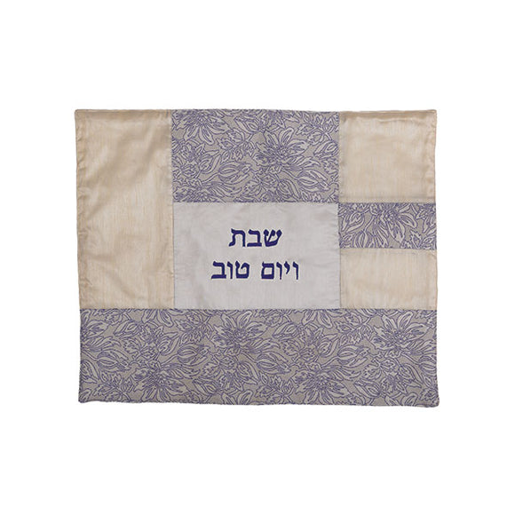 Challah Cover - Fabric Collage - White Flowers