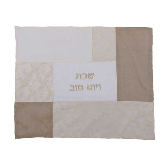 Challah Cover - Fabric Collage - White