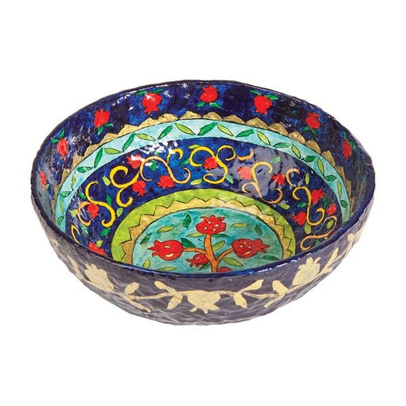 Paper Mache - Small Bowl - Blue Background