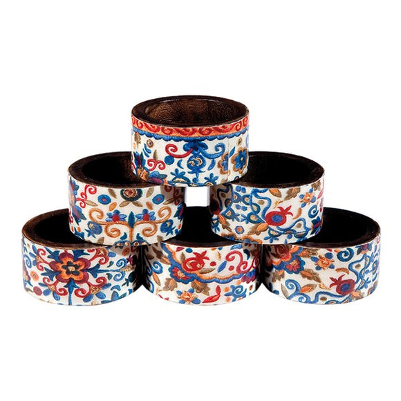 Printed Wooden Napkin Rings - Set Of 6 - Multicolored Pomegranates