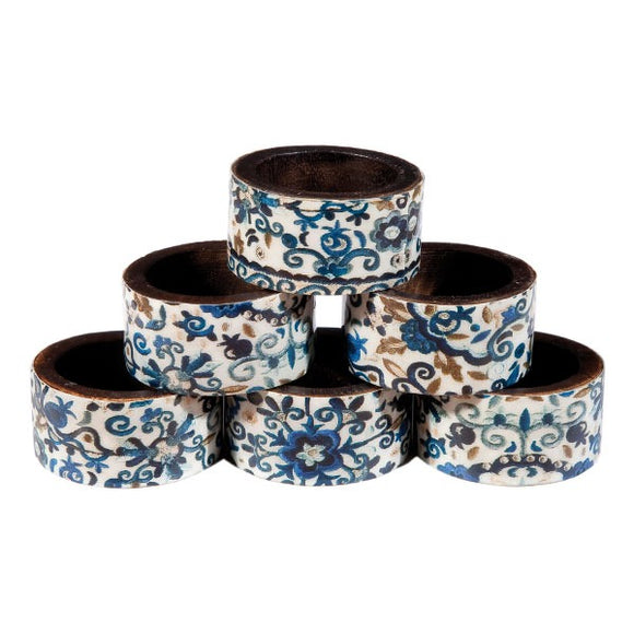 Printed Wooden Napkin Rings - Set Of 6 - Blue Pomegranates