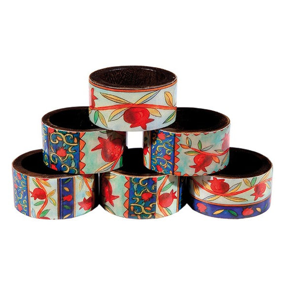 Printed Wooden Napkin Rings - Set Of 6 - Pomegranates
