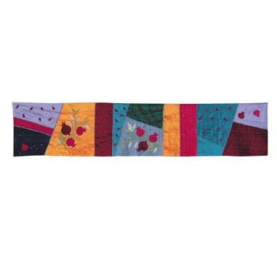 Runner - Raw Silk Appliqued 100 cm - Pomegranates Multicolored