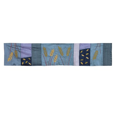 Runner - Raw Silk Appliqued 150 cm - Wheat Blue