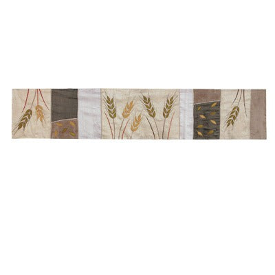 Runner - Raw Silk Appliqued 100 cm - Wheat - Gold
