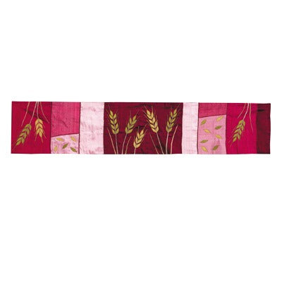 Runner - Raw Silk Appliqued 150 cm - Wheat Maroon