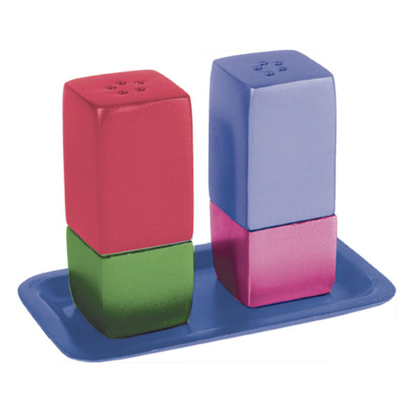 Salt & Pepper Shakers & Tray - Metal - Multicolored