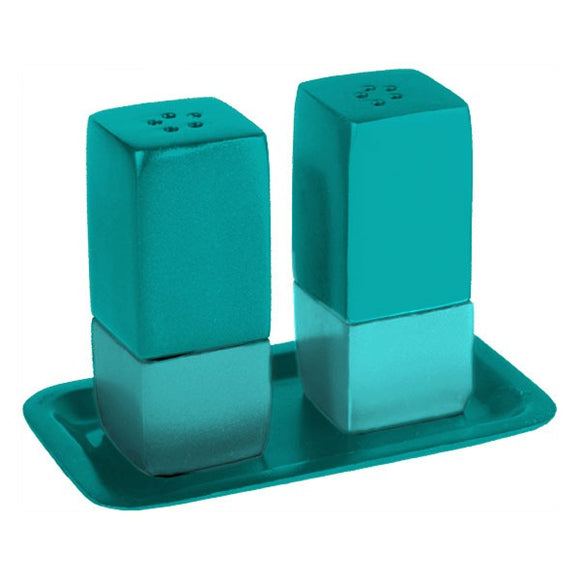 Salt & Pepper Shakers & Tray - Metal - Turquoise