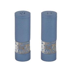 Salt & Pepper Shakers & Metal Cutout Jerrusalem - Blue