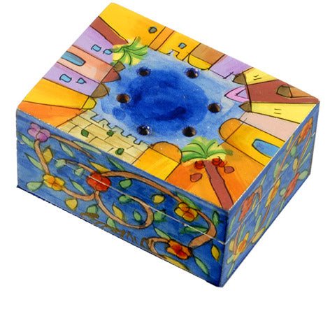 Spice Box - Hand Painted - Jerusalem/Flowers