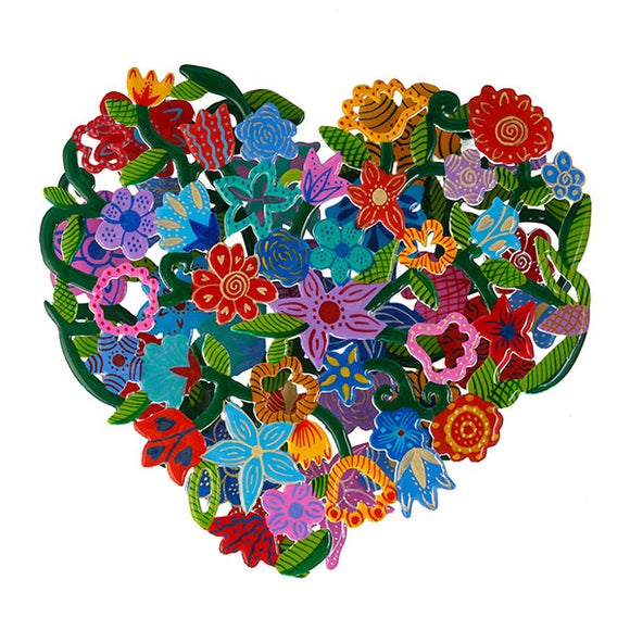Double Metal Cutout - Hand Painted - Heart - Flowers