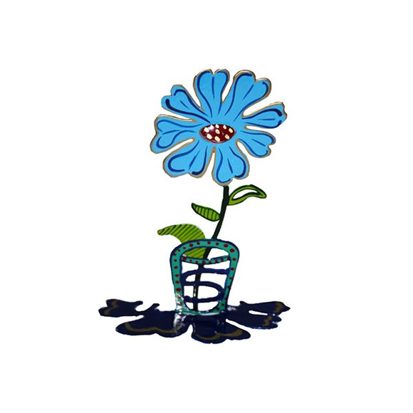 Small Metal Stand - Laser Cut & Hand Painted - Flower - Turquoise
