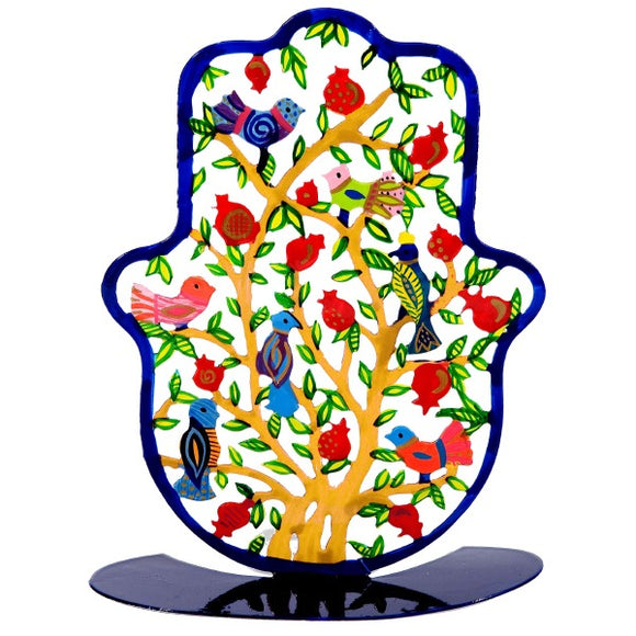 Stand - Large - Hand Painted - Hamsa Pomegranates