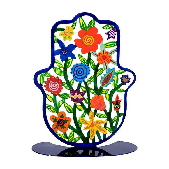 Stand - Large - Hand Painted - Hamsa Flowers