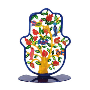 Stand - Small - Hand Painted - Hamsa Pomegranates