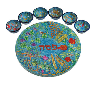 Seder Plate & Six Bowls - Seven Species