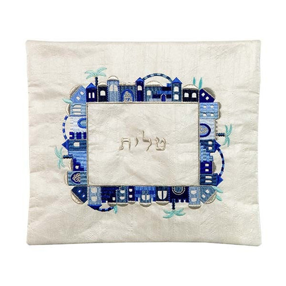 Tallit Bag - Machine Embroidery - Jerusalem - Blue On White