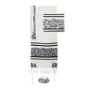 Tallit - Dense Embroidery - Jerusalem - Black/Gray - II