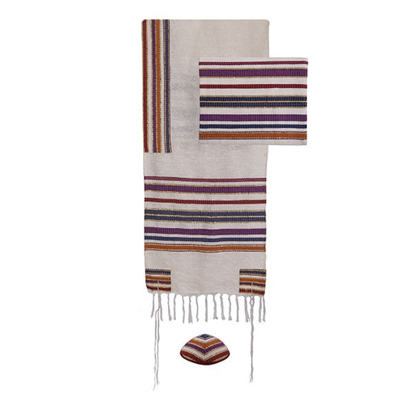 Tallit - Hand Woven & Atara With Blessing - 105 cm - Multicolored
