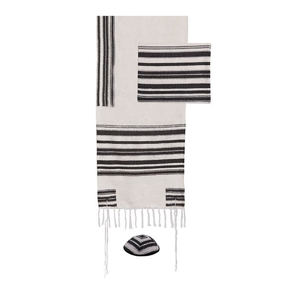 Tallit - Hand Woven & Atara With Blessing - 52 cm - Black