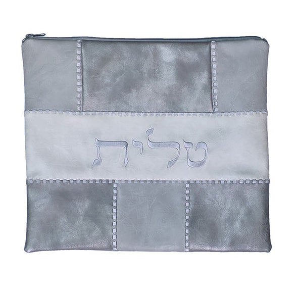 Tallit Bag - Faux Leather Patches - Gray